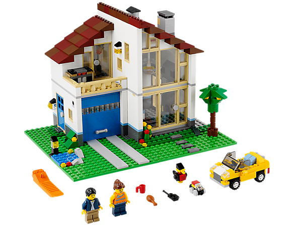 Build the 3-in-1 Family House with large windows, LEGO light brick hanging lamp, garage and car, then rebuild into a villa or factory!