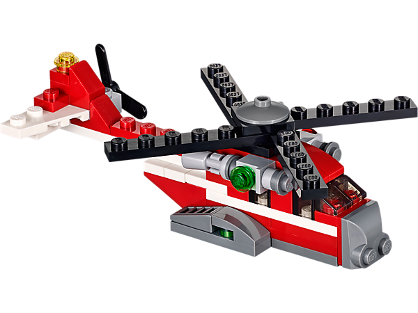 This 3-in-1 LEGO® Creator Red Thunder helicopter has a powerful engine and can be rebuilt into a cool biplane or a fast racing boat!