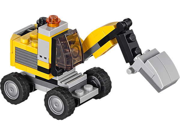 With an opening engine compartment and crane arm, this 3-in-1 LEGO® Creator Power Digger can rebuild into a dump truck or front loader!