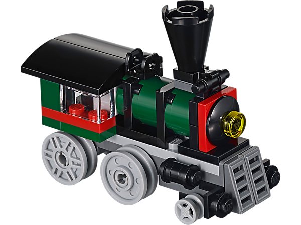 Construis cette locomotive 3-in-1 LEGO® Creator avec de grosses roues, une cheminée, des lumières, des barres pour le bétail, une cabine du conducteur et des fenêtres !