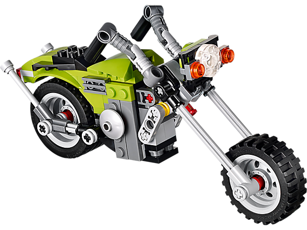 Rebuild the retro 3-in-1 LEGO® Creator Highway Cruiser with realistic engine and twin exhaust into a traditional motorbike or dirt bike!