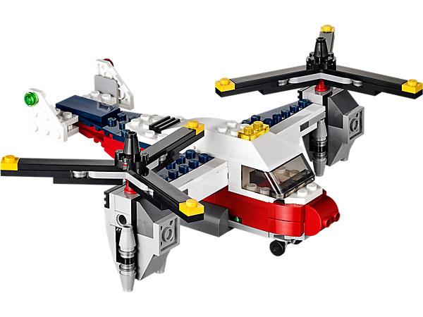 Build the 3-in-1 LEGO® Creator Twinblade Adventures aircraft with huge rotor blades and cargo ramp or rebuild it into a biplane or helicopter!