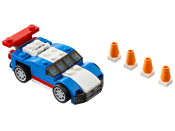 The sleek-lined LEGO® Creator Blue Racer has a hinged rear spoiler, detailed engine and rebuilds into a smart snowplow or a cool buggy.
