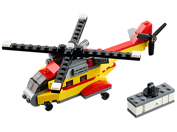 The LEGO® Creator Cargo Heli with movable rotors, wheeled undercarriage and winch hook rebuilds into a cool cargo ship or a cargo plane.