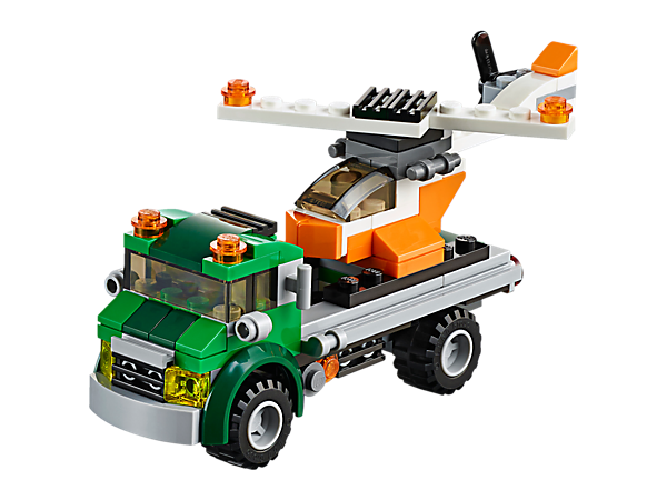 Climb aboard the 3-in-1 Chopper Transporter, featuring a flatbed truck with warning beacons and chunky tires, plus a helicopter. Rebuilds into a tractor or an off-roader.