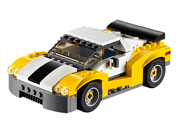 Jump into the Fast Car with opening scissor doors, fold-down roof, large driver's cab and stylish rims. This 3-in-1 model rebuilds into a pickup truck or a skid loader.