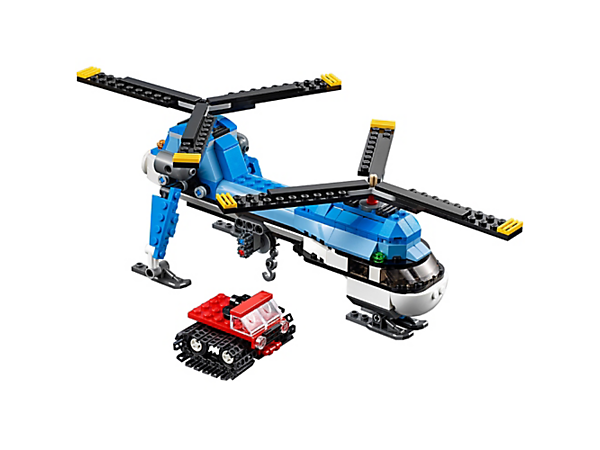 <p>Airlift the snowcat with the high-tech 3-in-1 Twin Spin Helicopter, featuring Twin Spin rotors and a working winch. Rebuild into a snowmobile or single-engine airplane.</p>