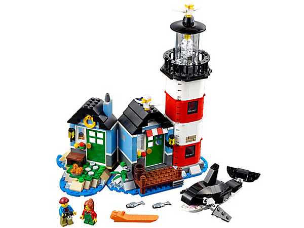 <p>Spend a weekend at the cozy 3-in-1 lighthouse, with light brick, 2 minifigures, buildable orca and seagulls. Rebuilds into a house with pier and speedboat or a boathouse.</p>