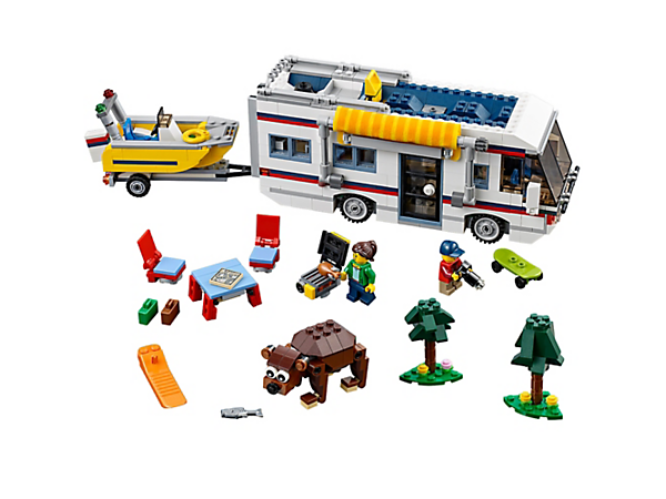 Take a break with the 3-in-1 Vacation Getaways set, including a camper, trailer, motorboat, 2 minifigures and a buildable bear. Rebuilds into a summer home or a yacht.