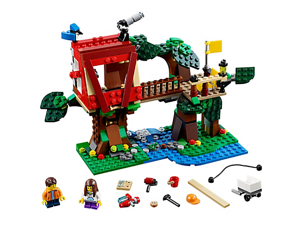 <p>Help build a treehouse that's packed with exciting features and functions. Includes 2 minifigures, plus a frog and a blue jay. Rebuilds into a clubhouse or a tree fort.</p>