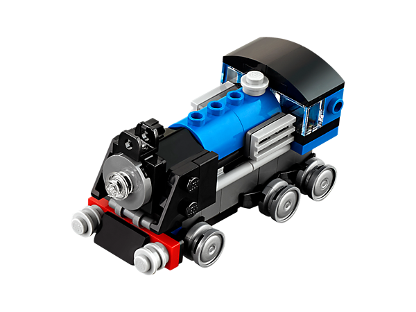 <p>Chug down the track with the Blue Express locomotive, featuring a blue, black and gray color scheme, six wheels and a front light. Rebuilds into a Carriage or a Fast Train.</p>
