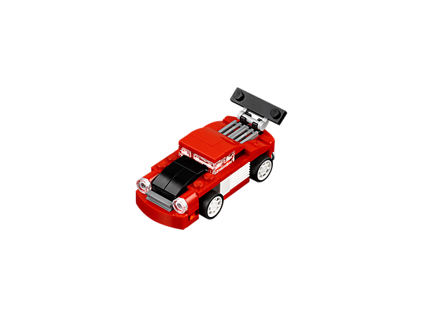 Check out the cool 3-in-1 Red Racer, featuring an adjustable spoiler, rear engine, round headlights and a red, white and black color scheme. Rebuilds into a Tow Truck or a Race Car.