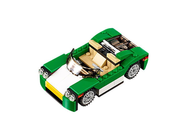 Get behind the wheel of this 3-in-1 open-top Green Cruiser with opening hood and trunk, and a green, white and black color scheme. Rebuild to create a Fast Boat or a rugged Truck.
