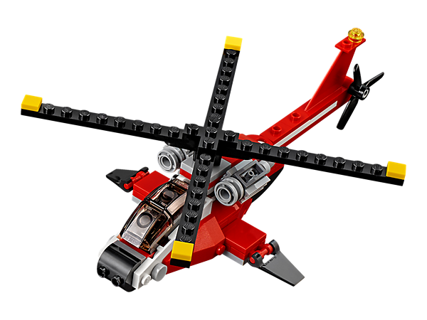 Pilot this agile 3-in-1 Air Blazer helicopter with spinning rotors, tinted cockpit and a red and black color scheme. Rebuilds into a classic Seaplane or a high-speed Catamaran.
