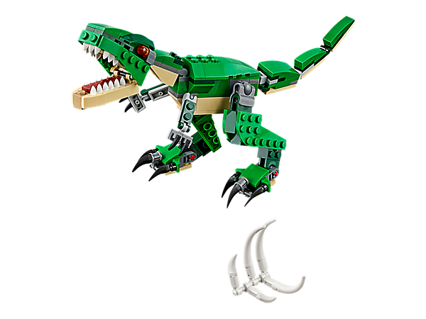 <p>Scare your friends with the 3-in-1 Mighty Dinosaurs T. rex, featuring posable joints, huge claws and an opening mouth with pointed teeth. Rebuilds into a Triceratops or a Pterodactyl.</p>