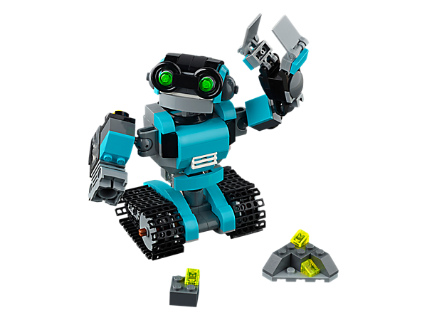 Enjoy futuristic fun with the characterful 3-in-1 Robo Explorer, featuring posable arms with claw and searchlight. Rebuild to create a Robot Dog or a Robot Bird.