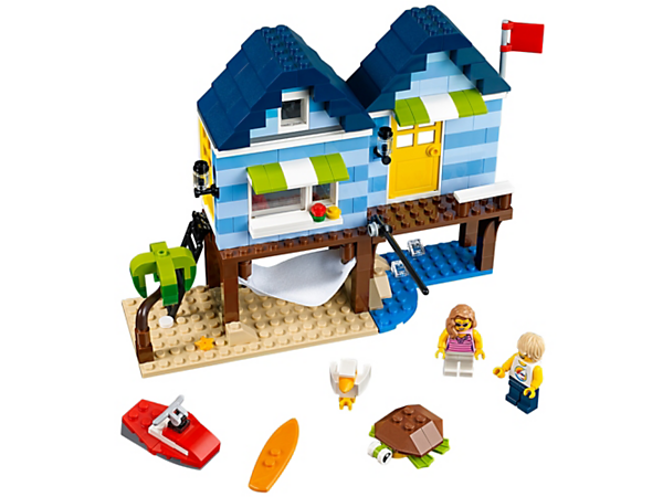 <p>Have summer fun with the cozy 3-in-1 beach house, featuring a detailed interior, two minifigures and a buildable sea turtle and seagull. Rebuilds into a Beachside Shop or a Boatside Harbor.</p>