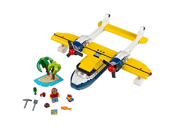 Head out on air and sea adventures aboard this 3-in-1 twin-boom seaplane with spinning propellers, plus a tropical island and a minifigure. Rebuild to create an Island Hut or a Speedboat.