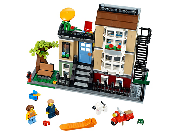Enjoy the 3-in-1 Park Street Townhouse with its colorful, authentic facade, balcony and detailed interior, plus two minifigures, dog and a bird. Rebuilds into a City Café or a Suburban Home.