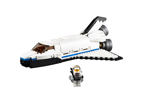 Enjoy space adventures with the 3-in-1 Space Shuttle Explorer, featuring an opening payload bay, robotic arm, satellite, and an astronaut minifigure with jetpack. Rebuilds into a Moon Station or a Space Rover.