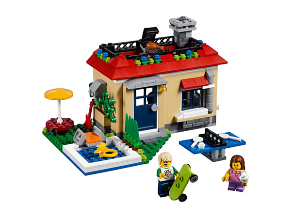 Enjoy summer adventures with the 3-in-1 Poolside Holiday set, featuring a house with a swimming pool, table tennis table and 2 minifigures. Rebuild to create a Skate Park Holiday or a Music Garage Holiday.