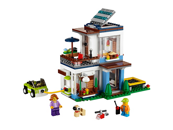 Experience the bright and airy 3-in-1 Modern Home, with solar skylight, large windows, detailed interior, trampoline, car and 2 minifigures. Rebuilds into a Lakeside Home or a Garden Home.