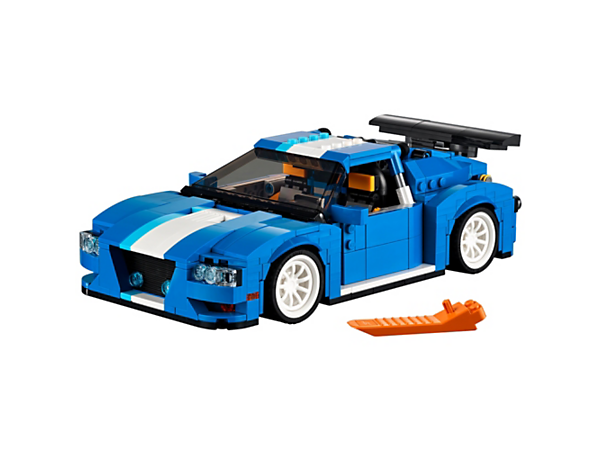 Leave the competition behind with this sturdy 3-in-1 Turbo Track Racer, featuring automatic upswing doors, and a detailed cockpit with adjustable racing seats. Rebuilds into a Forklift Truck or a Cool Blue Racer.