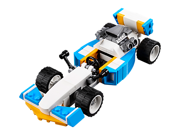 Set the pace with this 3-in-1 Extreme Engines set, featuring a Race Car with large rear engine, side air intakes and wide rims with low profile tires. Rebuilds into a Hot Rod or a Speedboat.