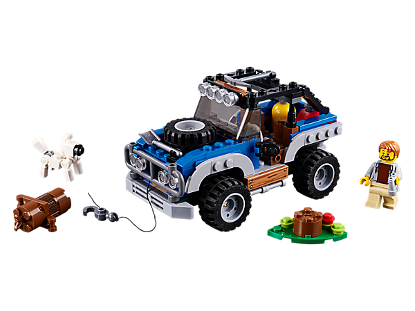 Enjoy Outback Adventures with this 3-in-1 set, featuring an Off-roader vehicle with working winch, minifigure and dog figure. Rebuild into a Wilderness Campsite or Winch Helicopter.