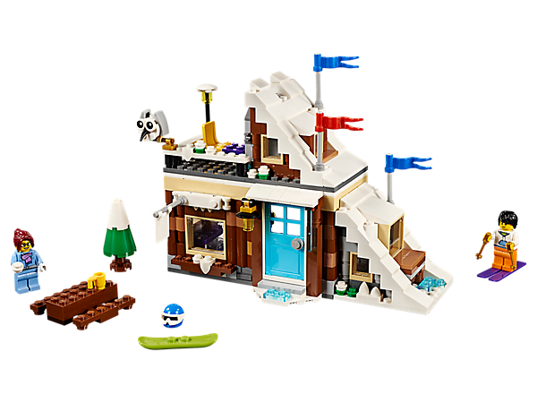 Enjoy winter action with the 3-in-1 Modular Winter Vacation set, featuring a ski slope and ski cabin with balcony, shop and serving hatch. Rebuilds into a Bobsleigh Track or a Yeti Surprise.