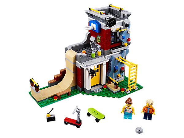 Have an awesome day at the Modular Skate House, complete with ramp, monkey bars, climbing wall, scooter, skateboard and 2 minifigures. Rebuilds into a Games Arcade or a Skate Park.