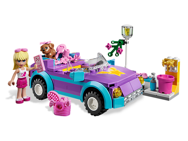 Take the LEGO® Friends and their puppy on the road in style with Stephanie's Cool Convertible then make it sparkle with carwash accessories!