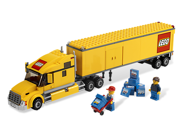 You're needed to make an urgent delivery to the airport, so load all 9 boxes right now and hop into the LEGO® City truck's driver seat!