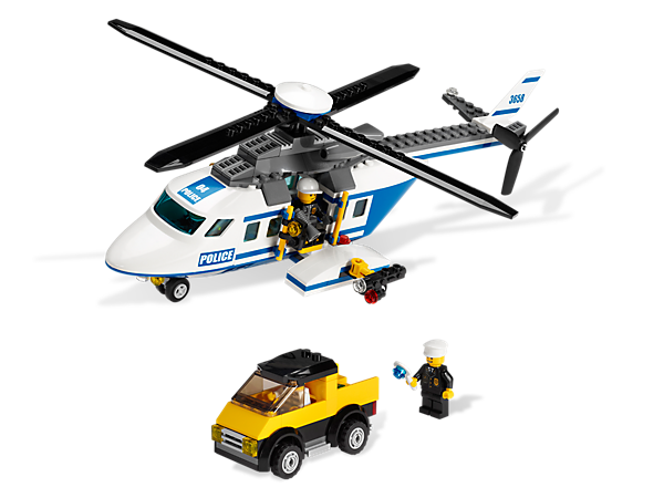 Close in on the robber and make the arrest in the Police Helicopter; includes getaway van, air traffic light and spinning blades!
