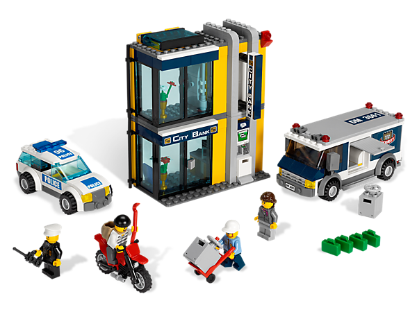 Set the scene to thwart LEGO® City's biggest bank heist with this exciting set, features realistic details and translucent elements!
