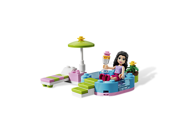 Cool off in Emma's Splash Pool with the LEGO® Friends where they can work on their tans in the lounge chair or have an ice cream treat!