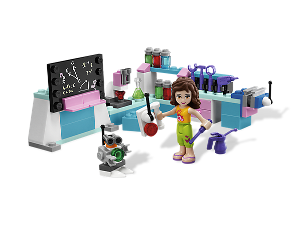 Start exploring science and invention in Olivia's Invention Workshop with her pet robot, crystals, microscope and more awesome accessories!