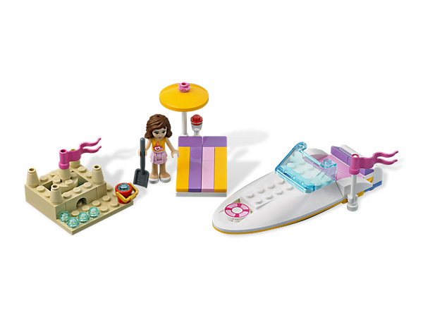 Take the LEGO® Friends for some fast-paced fun in the sun making waves in Olivia's Speedboat, including an umbrella and Olivia!