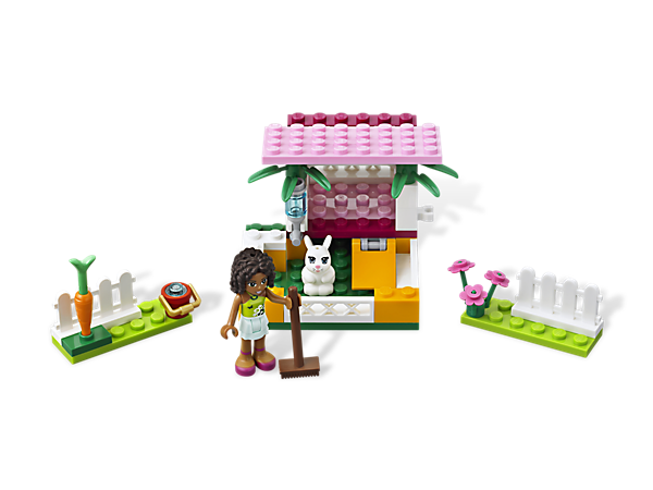 Open the hutch on Andrea's Bunny House, take her furry friend Jazz out to play and give the bunny a treat — a carrot from the garden!