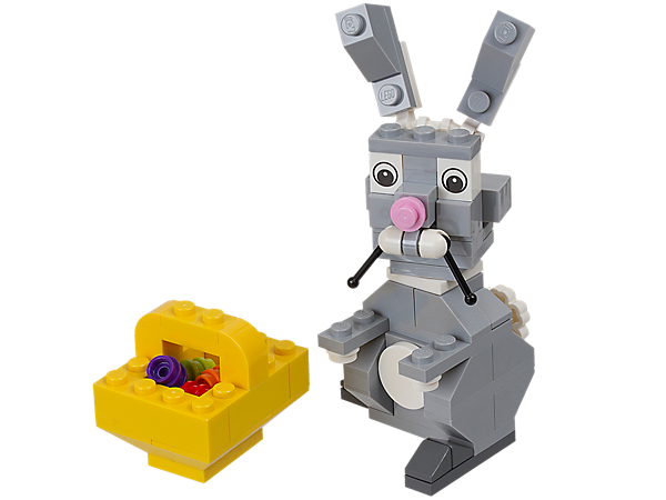 Easter is here with a buildable LEGO® Easter Bunny, with moveable whiskers and ears, toting a yellow basket with colorful eggs inside!