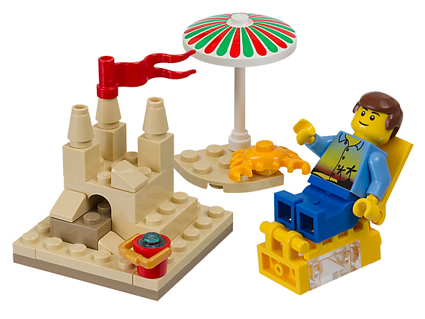 Celebrate the summer sunshine with the Summer Scene featuring a sand castle, beach umbrella and lounge chair for the minifigure!