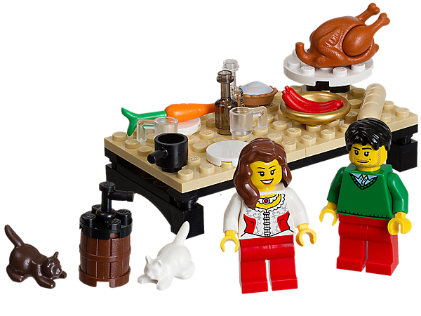 Create a Thanksgiving Feast with a LEGO® brick-built table, tons of food and drink accessories, 2 minifigures and 2 cats!