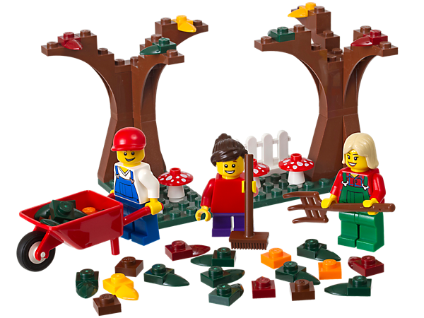 Create the fun Fall Scene with 2 LEGO® brick-built trees, mushrooms, lots of colorful falling leaf elements and 3 minifigures to rake them up!