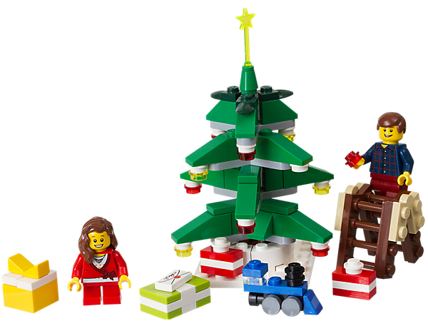 Get ready for a happy LEGO® holiday in a brick-built Christmas scene featuring a tree with decorations, gifts, a ladder and 2 minifigures!