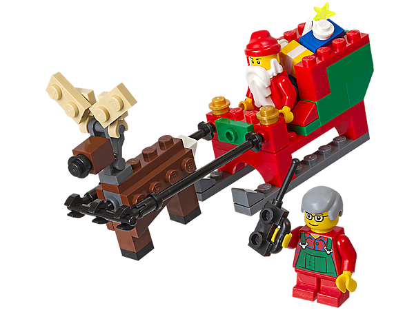 Create Santa's Christmas journey the LEGO® way with a buildable reindeer, sleigh full of gifts to deliver and an elf with a walkie-talkie!