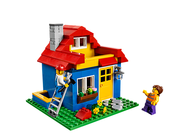 Create a colorful home for your stationery with the LEGO® Iconic Pencil Pot featuring a removable roof and 3 rooms for storage