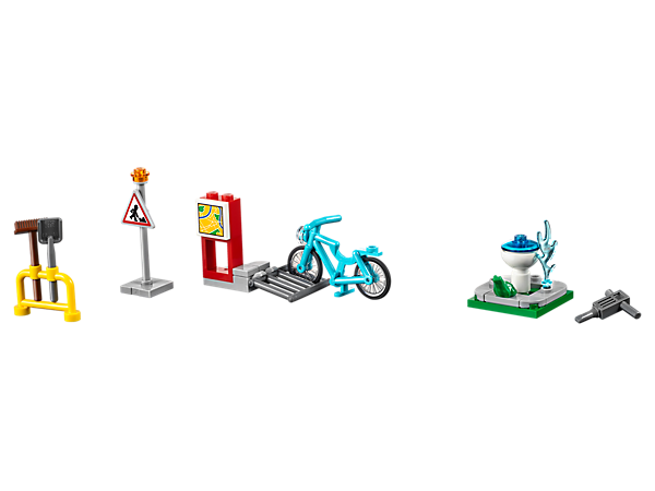 Improve your LEGO® City services with this Build My City Accessory Set, featuring buildable streetlight, bike rack, checkpoint gate with lowering bar, fountain and city greenery.