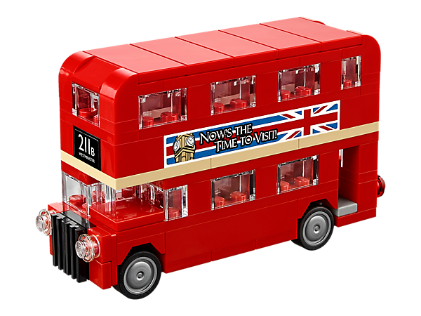 <p>Tour England's capital city with the realistic LEGO® London Bus, featuring turning wheels and advertisement stickers for Big Ben and 'The Brick Separator' horror movie.</p>