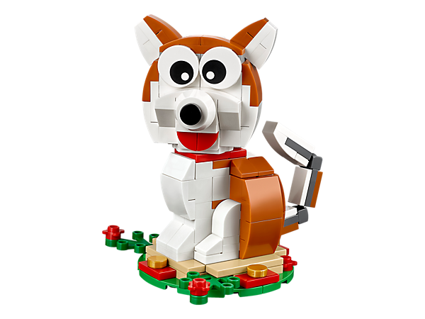 Bring kawaii canine cuteness to the Lunar New Year 2018 with this LEGO® dog with movable ears and tail, plus a podium and a traditional money gift envelope.