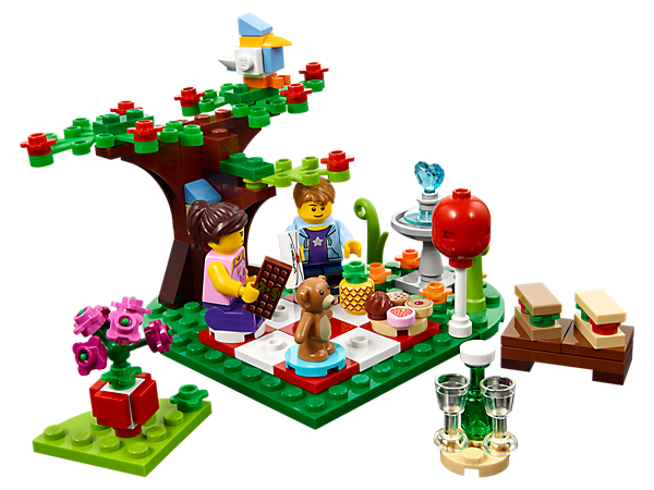 Create a perfect Romantic Valentine Picnic with this idyllic LEGO® set, including a heart-shaped lawn, fruit tree, lots of food and drink accessories and 2 minifigures.